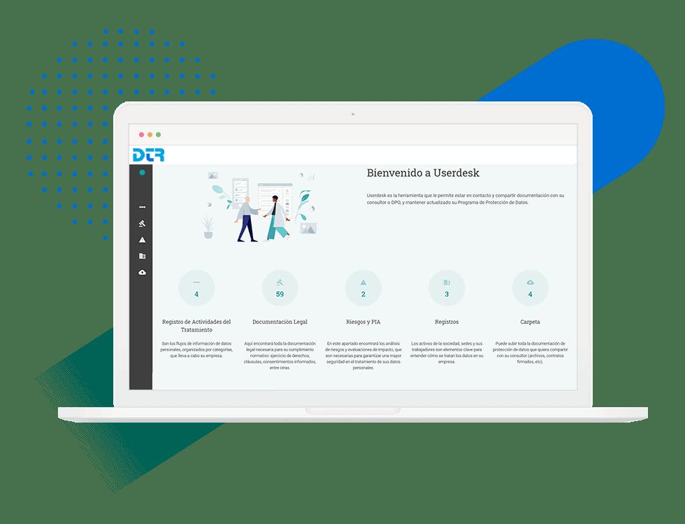 Escritorio de Userdesk para la gestión de la protección de datos de DTR